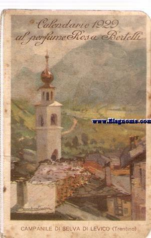 Calendario 1929.Calendario1929 Al Perfume Rosa Bertelli