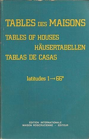 Tables Des Maisons, Tables Of Houses, Haustertabellen,: Placidus