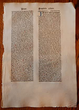 THE BOOK OF ISAIAH. A LEAF FROM A BIBLIA LATINA, PRINTED BY ANTON KOBERGER IN NUREMBERG IN 1479.