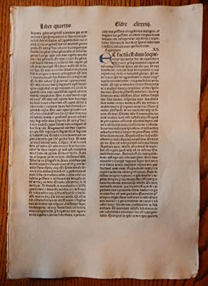 THE BOOK OF 2 EDRAS. A LEAF FROM A BIBLIA LATINA, PRINTED BY ANTON KOBERGER IN NUREMBERG IN 1479.