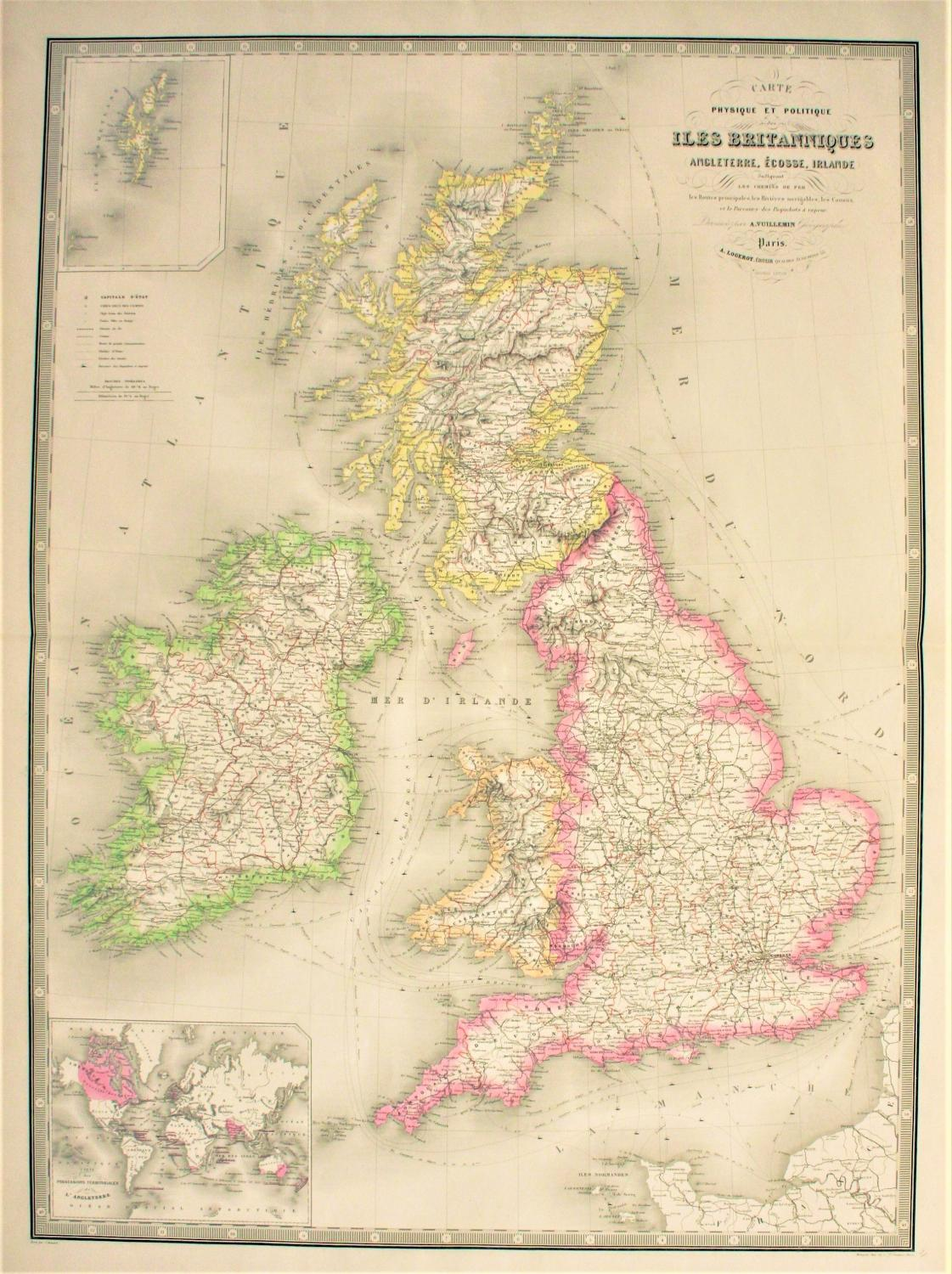 Large French Map of The British Isles / ...