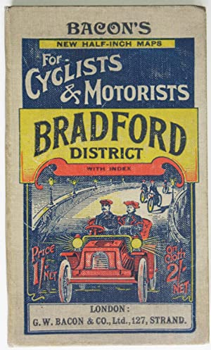 Bacon's New Half-inch Maps for Cyclists and Motorists: Bradford District circa 1905