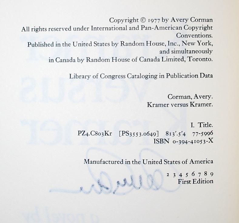 Kramer Versus Kramer By Avery Corman Random House New York