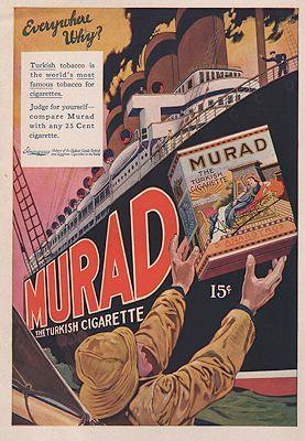 ORIG VINTAGE MAGAZINE AD/ 1910 MURAD CIGARETTE: N/A