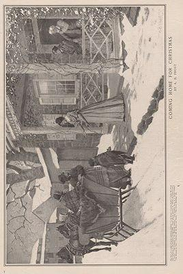 ORIG VINTAGE MAGAZINE ILLUSTRATION - COMING HOME FOR CHRISTMAS - LADIES HOME JOURNAL - DECEMBER 1899