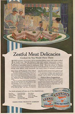 ORIG. VINTAGE MAGAZINE AD: 1919 DELICIA CANNED MEAT AD