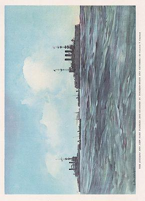 ORIG VINTAGE BOOK PRINT - THE INDIANA AND NEW YORK/ WARSHIPS ON THE SEA
