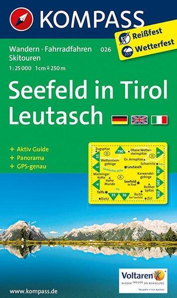 Seefeld in Tirol, Leutasch : Wander-, Radtouren- und Mountainbikekarte ; mit Panorama. Kompass ; 026