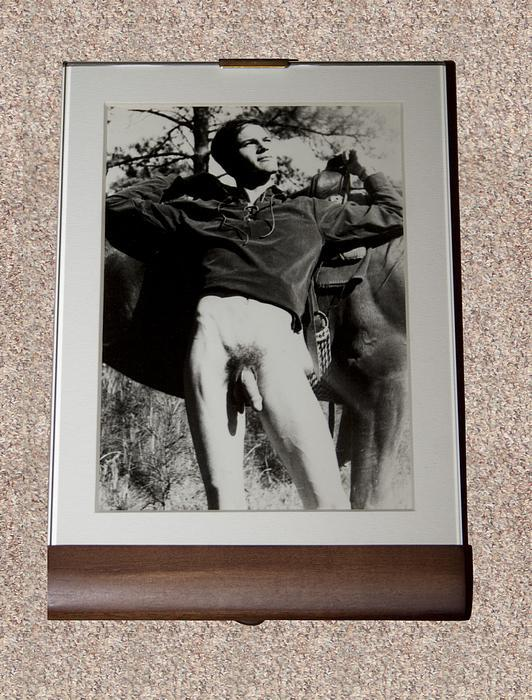 """MALE NUDE: """"""""YOUNG EQUESTRIAN WITH HORSE"""""""" BLACK-AND-WHITE PHOTOGRAPH - Rare Framed Original Vintage Photographic Print - ONLY COPY ONLINE Unidentified"""