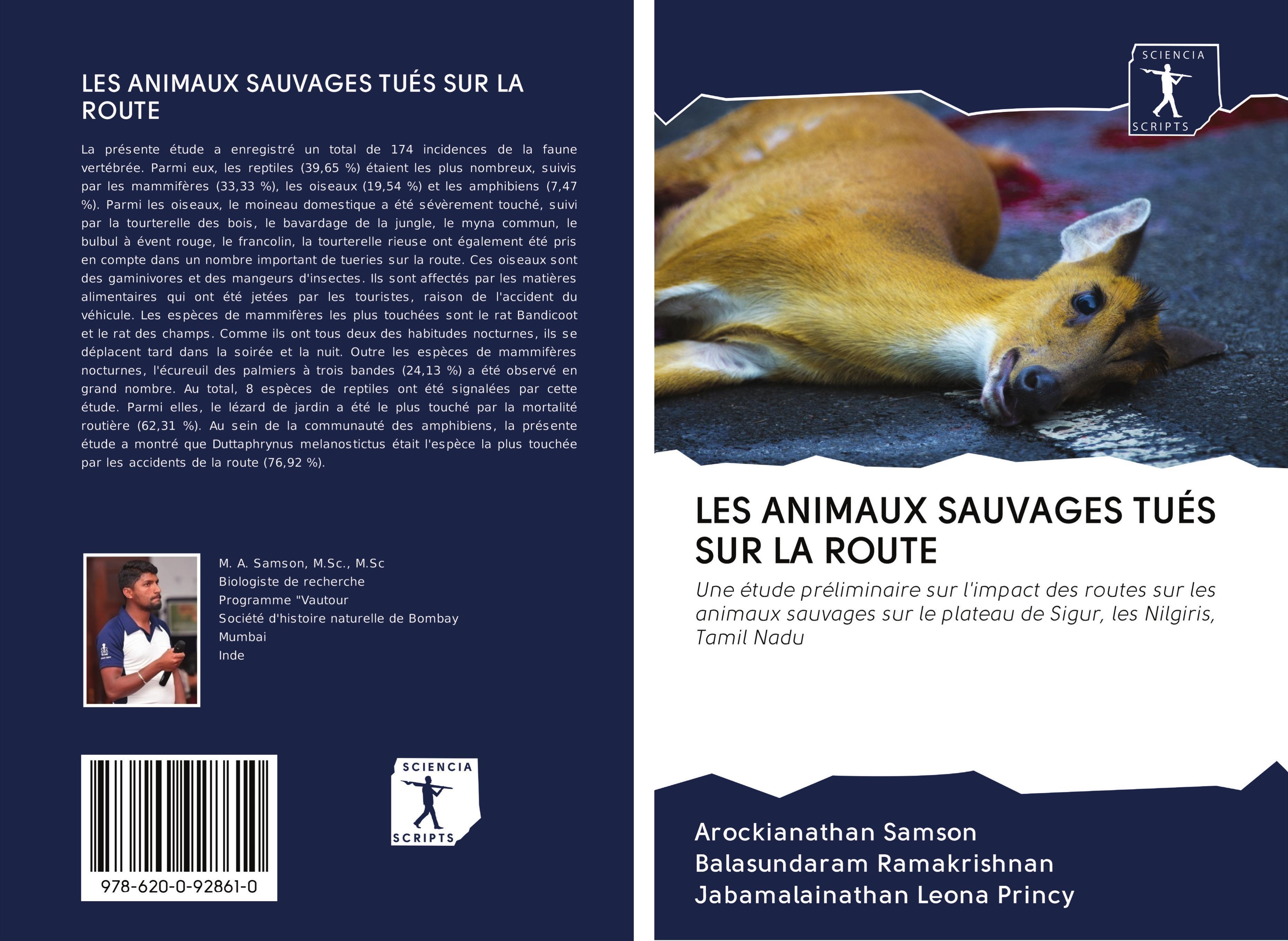 LES ANIMAUX SAUVAGES TUÉS SUR LA ROUTE - Samson, Arockianathan|Ramakrishnan, Balasundaram|Leona Princy, Jabamalainathan