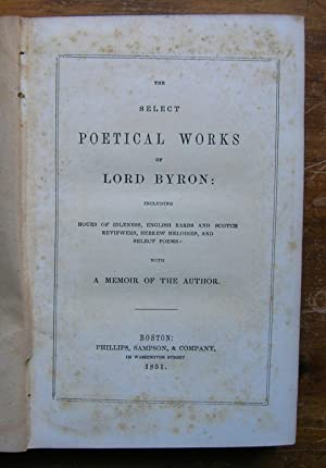 The Select Poetical Works of Lord Byron.: Byron, George Gordon,