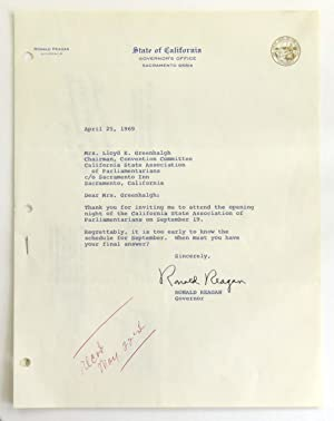 Typed Letter Signed as Governor of California;: Reagan, Ronald