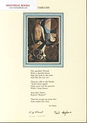 Thrush (Broadside Print) -- from The Cat and the Cuckoo