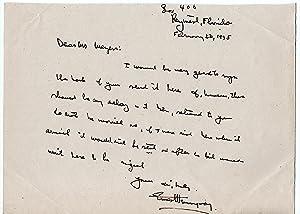 SIGNED Doc letter Manuscript by Ernest Hemingway: Ernest Hemingway