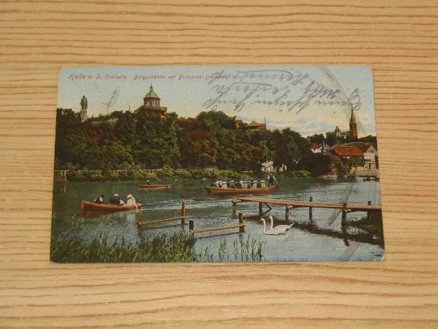 AK Halle a. S. Cröllwitz. Bergschänke mit Bismarck - Denkmal. 1915 ...