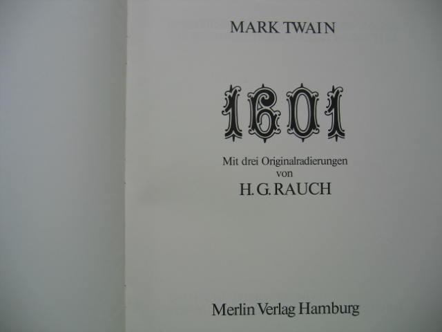 1601. Mit 3 Orig. - Radierungen von: Rauch, Hans G.