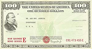 War Bond - 100 Check - Mr. And Mrs. America - Authentic Original 26