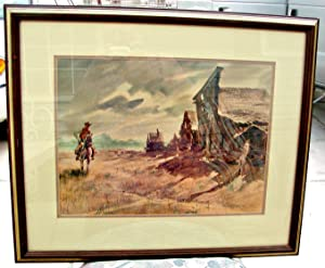 Arizona Watercolor, Cowboy Art, Framed