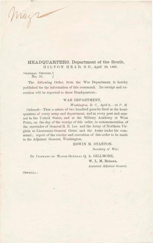 General Orders, No. 51 (GENERAL ORDERS -- CIVIL WAR). STANTON, Edwin M.