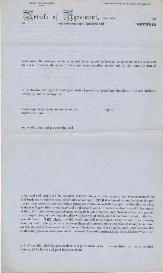 Article Of Agreement By Bell Gould Legal Form Bell Gould