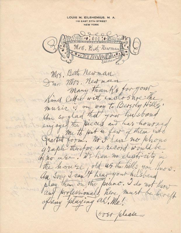 Autograph Letter Signed EILSHEMIUS, Louis M. (1864-1941)