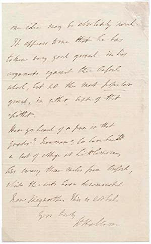 Autograph Letter Signed.: HALLAM, Henry (1777-1859).
