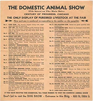 The Domestic Animal Show. The Only Display of Purebred Livestock at the Fair