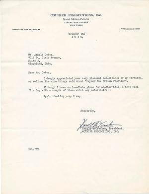 Typed Note Signed.: McCRACKEN, Harold (1894-1983).