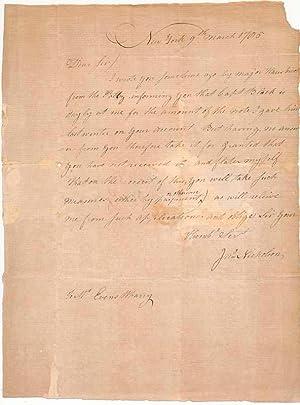 Autograph Letter Signed.: NICHOLSON, John (?-?).