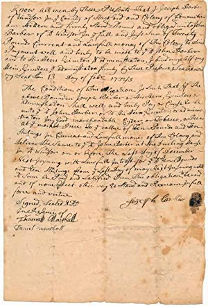 Document Signed.: BARBER, Joseph (possibly 1689-?).