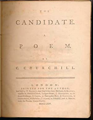 The Candidate. A Poem: CHURCHILL, Charles