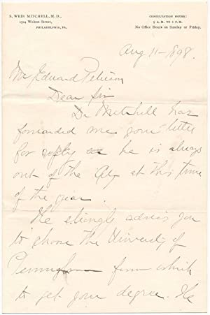 Autograph Letter Signed (secretarial): MITCHELL, S. Weir, 1829-1914)