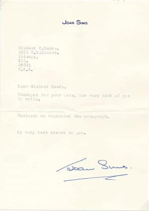 Typed Note Signed.: SIMS, Joan (1930-2001).