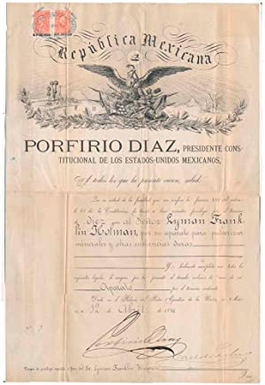 Document Signed: DIAZ, Porfirio (1830-1915)