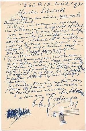 Autograph Letter Signed.: GRELINGER, Charles (1873-1942).