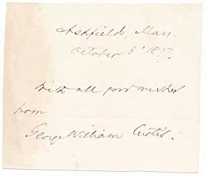 Signature and Inscription / Unsigned Portrait.: CURTIS, George William (1824-92).