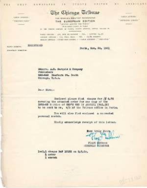 Typed Letter Signed / Partly-printed Autograph Document.: GIBBONS, Floyd (1887-1939).