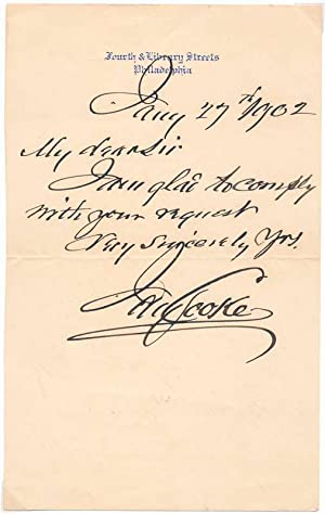 Autograph Note Signed.: COOKE, Jay (1821-1905).