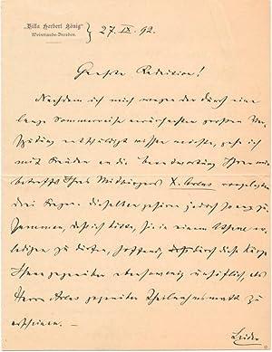 Autograph Letter Signed: NICODE, Jean Louis (1853-1919)