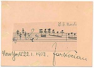 Autograph Musical Quotation Signed.: KOCIAN, Jaroslav (1883-1950).