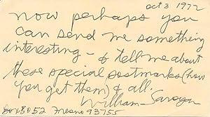 Autograph Note Signed: SAROYAN, William (1908-81)