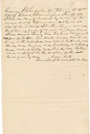Document Signed.: SLAVERY -- WRIT OF REPLEVIN -- ST. CHARLES, MISSOURI). TUTER, Reuben (?-?).
