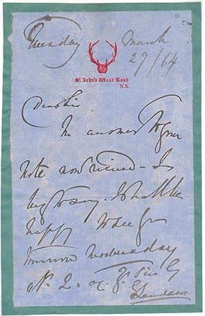 Autograph Note Signed.: LANDSEER, Edwin (1802-73).