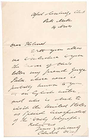 Autograph Letter Signed.: DICEY, Edward (1832-1911).