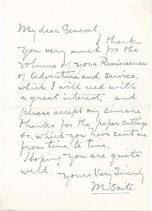 Autograph Letter Signed.: SAITO, Makoto (1858-1936).