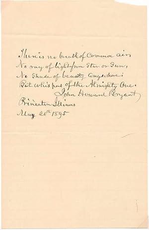 Autograph Quotation Signed: BRYANT, John Howard (1807-1902)