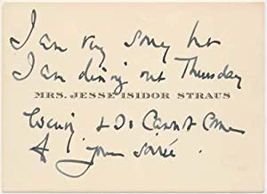 Autograph Note (unsigned).: STRAUS, Mrs. Jesse Isidor (?-?).