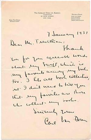 Autograph Letter Signed.: VAN DOREN, Carl (1885-1950).
