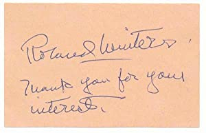 Signature and Inscription.: WINTERS, Roland (1904-89).