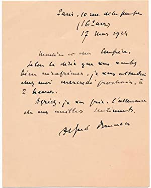 Autograph Note Signed: BRUNEAU, Alfred (1857-1934)